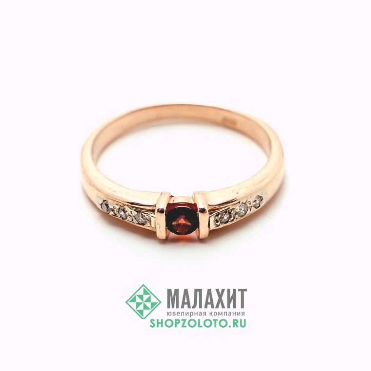 Кольцо из золота 2,15 гр. с бриллиантами, 17 размер - фото 42104