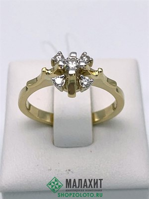Кольцо из золота 4,01 гр. с бриллиантами, 18 размер