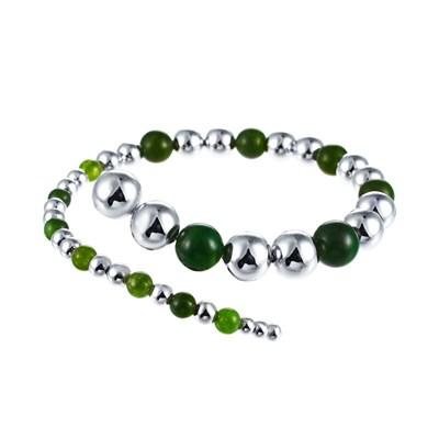 Браслет из серебра с зеленым агатом и вращающимися шариками