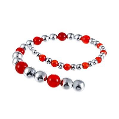 Браслет из серебра с красным агатом и вращающимися шариками