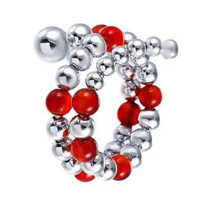 Кольцо из серебра с красным агатом и вращающимися шариками