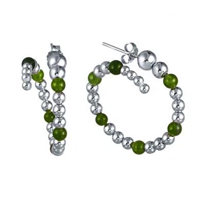 Серьги из серебра с зеленым агатом и вращающимися шариками