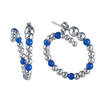 Серьги из позолоченного серебра с голубым агатом и вращающимися шариками