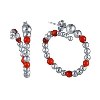 Серьги из серебра с красным агатом и вращающимися шариками