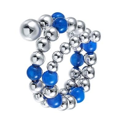 Кольцо из серебра с голубым агатом и вращающимися шариками