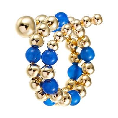 Кольцо из позолоченного серебра с голубым агатом и вращающимися шариками