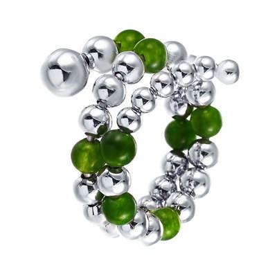 Кольцо из серебра с зеленым агатом и вращающимися шариками
