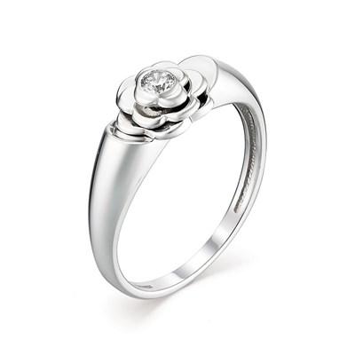 Кольцо из серебра с цирконием в виде цветка