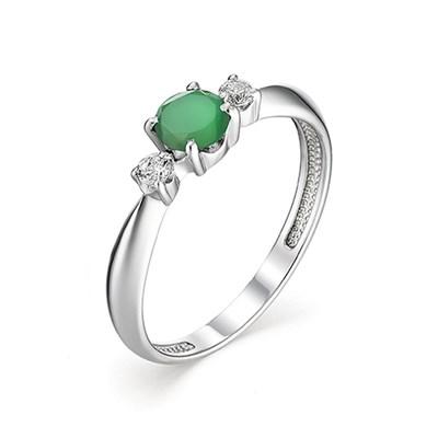Кольцо из серебра с зеленым агатом и с фианитовой обсыпкой.