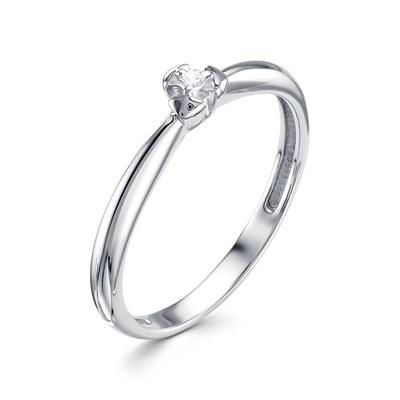 Классическое серебряное кольцо с бриллиантом.