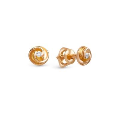 Аккуратные серебряные серьги-пусеты с позолотой и бриллиантами.