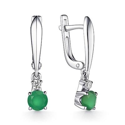 Серьги на из серебра с зеленым агатом