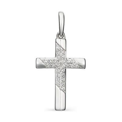 Крестик из серебра с фианитовой обсыпкой