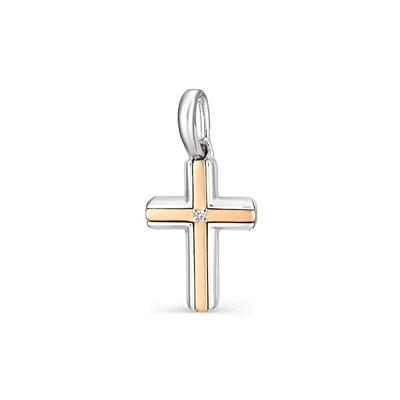 Крестик с золотыми накладками и бриллиантами — это новый уникальный вид украшений.
