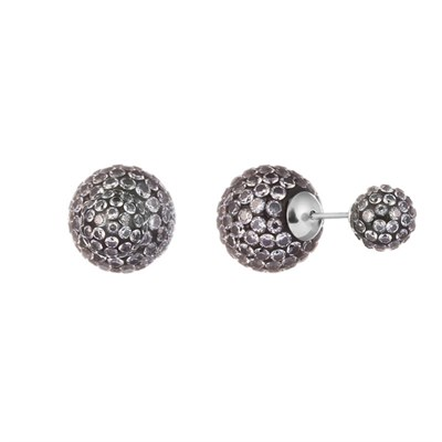 Серьги из серебра с серым кубическим цирконием