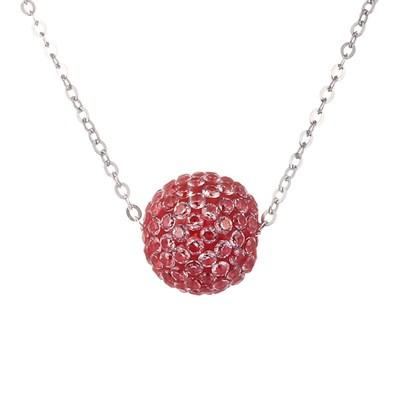 Колье из серебра с красным кубическим цирконием
