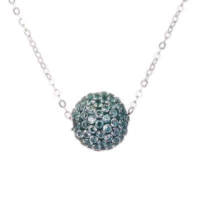 Колье из серебра с синим кубическим цирконием