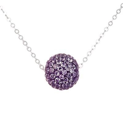 Колье из серебра с фиолетоым кубическим цирконием