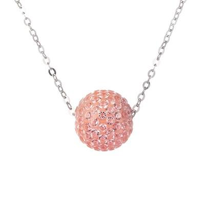 Колье из серебра с розовым кубическим цирконием