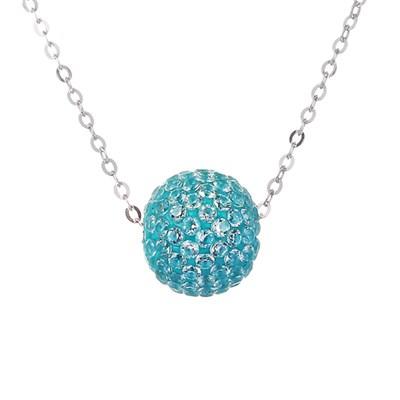 Колье из серебра с голубым кубическим цирконием