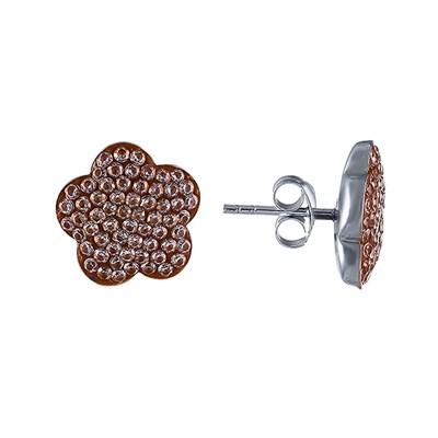 Серьги-пусеты из серебра с кубическим цирконием