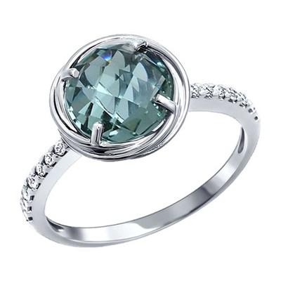 Классическое тонкое  кольцо SOKOLOV из серебра с крупным камнем