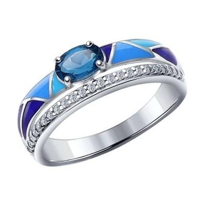 Кольцо из серебра SOKOLOV с эмалью с топазом и фианитами