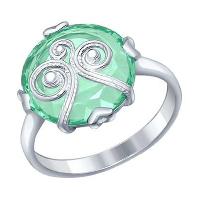 Кольцо из серебра SOKOLOV с ситаллом и сканью