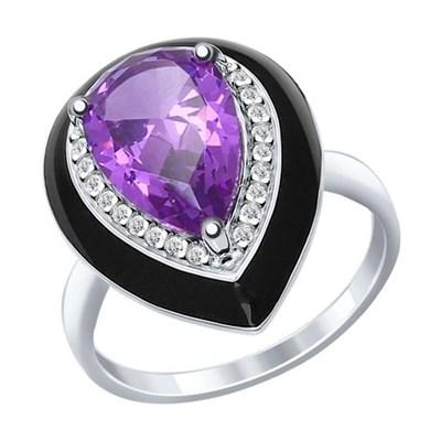 Кольцо из серебра SOKOLOV с эмалью с сиреневым ситаллом и фианитами