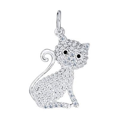 Подвеска «Кошка» SOKOLOV из серебра с фианитами