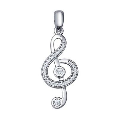 Подвеска «Скрипичный ключ» SOKOLOV из серебра с фианитами