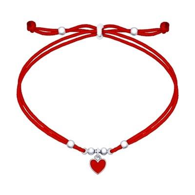 Браслет с серебряной подвеской-сердцем SOKOLOV с эмалью