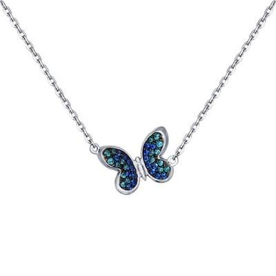 Колье SOKOLOV из серебра с зелеными и синими фианитами