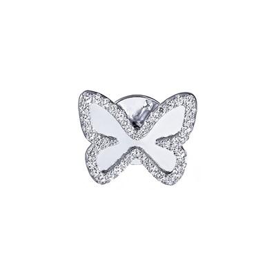 Брошь из серебра «Бабочка» с кубическим цирконием