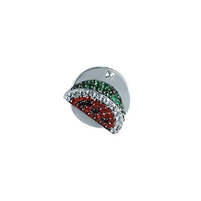 Брошь из серебра «Арбуз» с кубическим цирконием