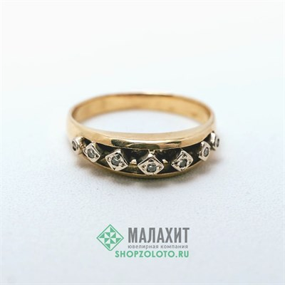 Кольцо из золота 3,69 гр. с бриллиантами, 18 размер