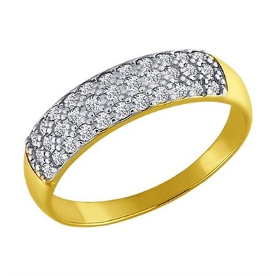 Кольцо из желтого золота SOKOLOV с фианитами