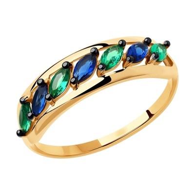 Кольцо из золота SOKOLOV с синими и зелеными фианитами