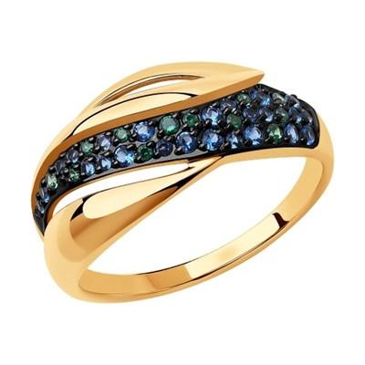 Кольцо из золота SOKOLOV с синими фианитами