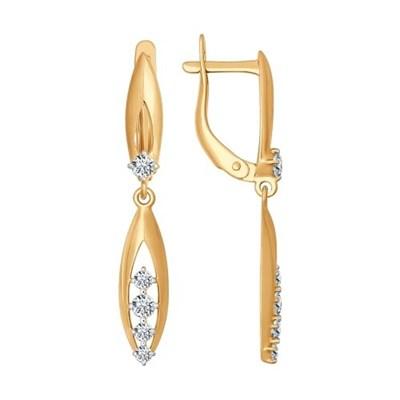 Серьги длинные из золота SOKOLOV с фианитами