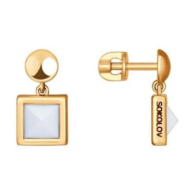 Серьги-пусеты из золота SOKOLOV с ситаллами-кахолонгами