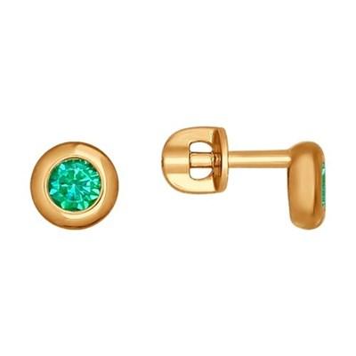 Серьги-пусеты из золота SOKOLOV с зелеными фианитами