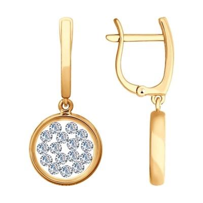 Серьги из золота SOKOLOV с минеральным стеклом и фианитами