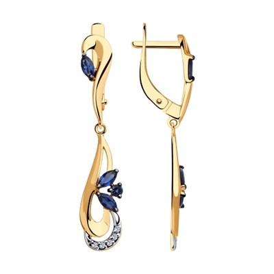 Длинные серьги из золота SOKOLOV с синими фианитами