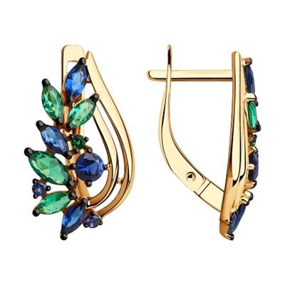 Серьги из золота SOKOLOV с синими и зелеными фианитами