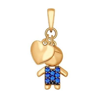 Подвеска из золота SOKOLOV «Мальчик» с синими фианитами