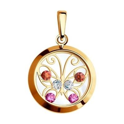 Подвеска из золота SOKOLOV «Бабочка» с минеральным стеклом и фианитами