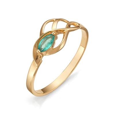 Кольцо из красного золота с изумрудом 585 пробы.
