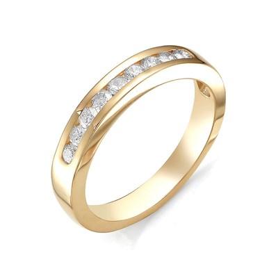 Кольцо из красного золота с бриллиантовой дорожкой 585 пробы.