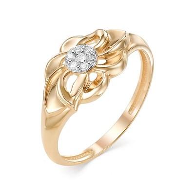 Кольцо из красного золота с бриллиантами 585 пробы.